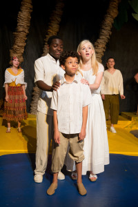 Joshua Harris (Center) & Kaitlin Burton appearing in Once On This Island